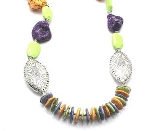 Multicolor Magnesite Southwestern Necklace, Chunky Necklace, Statement Necklace