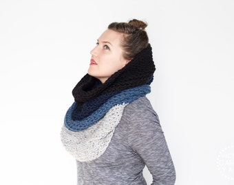 The Ombré Cowl | INDIGO | Chunky Knit Ombré Oversized Huge Textured Winter Cowl Scarf