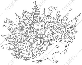 Hedgehog. Coloring Page. Animal coloring book pages for Adults. Instant Download Print