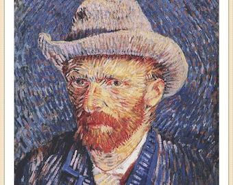 Self-portrait with Felt Hat by Vincent van Gogh cross stitch chart pattern pdf download art