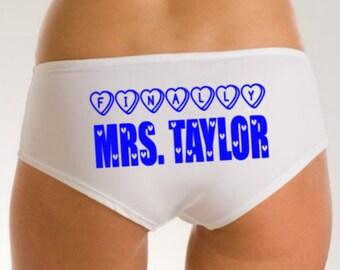 Bridal Lingerie, Finally Mrs, Personalized Wedding Panties, Mrs Knickers, Mrs Wedding Underwear, Wedding Gift, Custom Bride Panties