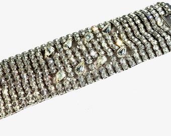 1960s Widest Clear Rhinestone Cuff/ Bracelet