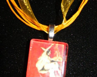 "Baroni  Italian Pasta Leonetto Cappiello  Mona Lisa Painting Glass Necklace  18"" ribbon cabochon"