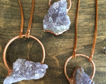Amethyst and Copper Statement Necklace