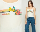 Hawaii Tank Top 80s Shirt Floral Shirt Hibiscus Camisole Tropical Sleeveless Graphic Retro Hipster Off-White Vintage Cotton Small