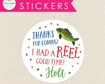 Gone Fishing Favor Stickers, Gone Fishing Party Stickers, Printed Fishing Stickers, Round Favor Labels, Gone Fishing, Lauren Haddox Designs