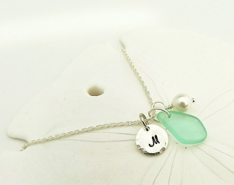 Aqua sea glass necklace personalized necklace with initial sea glass jewelry beach glass and pearls gift for mother mom bridesmaids necklace