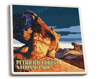 Petrified Forest AZ Desert at Dusk - LP Artwork (Set of 4 Ceramic Coasters)