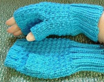 hand knitted blue fingerless gloves