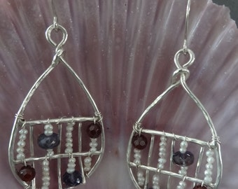 Sterling Silver Wire Oval Earrings with Wire Wrapped Garnet, Pearl & Iolite