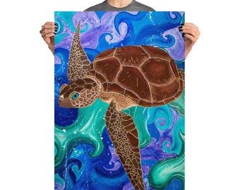 Sea Turtle Acrylic Poster Print