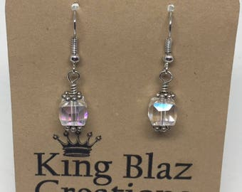 E1844: Iridescent Faceted Glass Cube Dangle Earrings, Silver