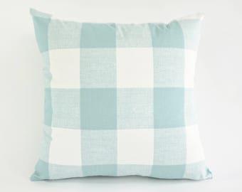 SET OF TWO Decorative Throw Pillow Aqua and White Buffalo Check Print Medium Weight Cotton