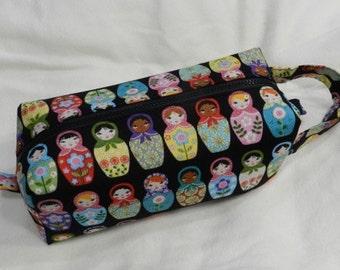 Matryoshka Doll Russian Nesting Dolls with Surprise Embroidery Inside Pencil Bag Craft Bag Cosmetic Bag Makeup Bag Shaving Kit LARGE