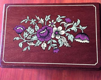 "Vintage Music Jewelry Box ""Feeling""  Hand Painted top"