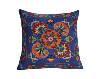 Handmade Suzani Pillow Cover emp7-01, Suzani Pillow, Uzbek Suzani, Suzani Throw, Suzani, Decorative pillows, Accent pillows