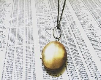 long locket necklace brass oval - large slender locket  -  brass oval