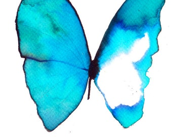 turquoise azure butterfly original watercolour and ink painting