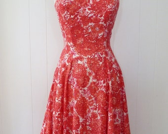 50's Alix of Miami Dress Cotton Crystal Pink Full Skirt Lattice Collar Fit and Flare VLV Sundress S