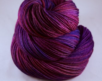 Hand Dyed Sock Yarn, hand dyed wool, variegated sock yarn, tonal sock yarn, nylon sock yarn, pink, purple