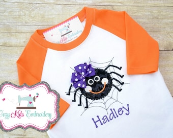 Halloween Spider shirt boy girl kid child toddler infant baby embroidered applique monogram personalized name custom