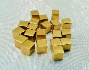350 Pcs Raw Brass 4 x 4 mm Square Cube Beads, No Hole -Excellent quality