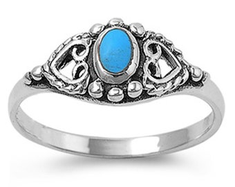 Women 8mm Sterling Silver vintage antique Oval Simulat Turquoise Heart Ring Band(SNRS130467)