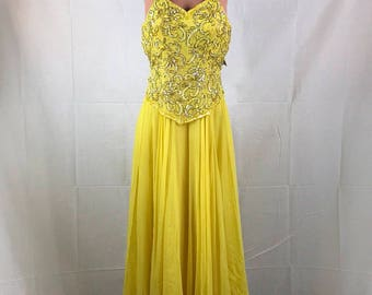 Silk Beaded Canary Yellow Tea Length Dress