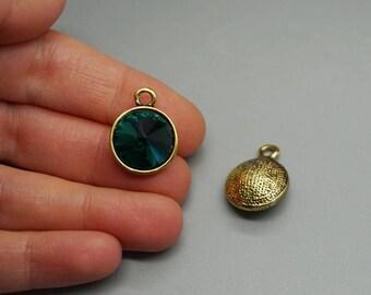 Golden bronze charm pendant birthstone (G91) dark green Crystal bead