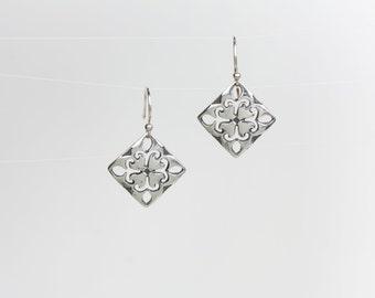 Fleur de Lis Silver Earrings