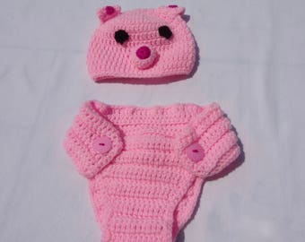 Crochet Pig Hat and Diaper cover