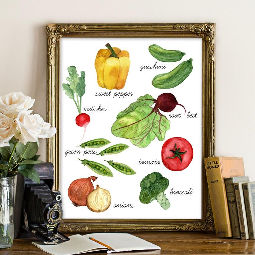 Kitchen Decor Vegetables: Vegetable Printable Kitchen Decor Kitchen Print Vegetables