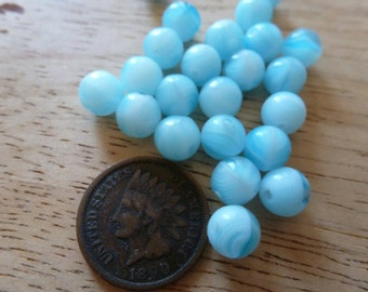 50 Vintage 7mm Bi-Color Baby Blue Round Glass Beads C33