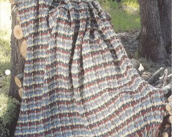 Crochet Stripe Afghan Pattern, Home Decor, Bedding, Bedspread, Couch Sofa Throw Blanket, The Needlecraft Shop, Southwest Shades