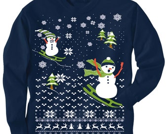 TODDLER Christmas sweater Tee -- Scary SNOWMAN Chasing  - long sleeve t shirt - kids toddler youth sizes