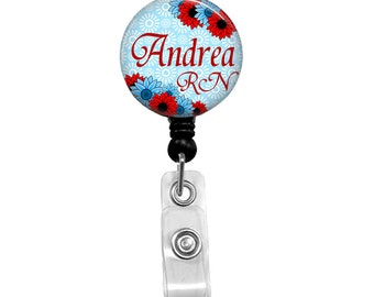 Nurse Badge Holder, Retractable Badge Reel, RN Badge, Personalized Name Badge, Red & Blue Flowers, Nurse Badge Reel, Name Badge Reel, 219B