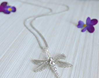 Silver Dragonfly Pendant, hand crocheted Silver Wire, Silver Dragonfly Necklace, Metamorphosis, Life Changes