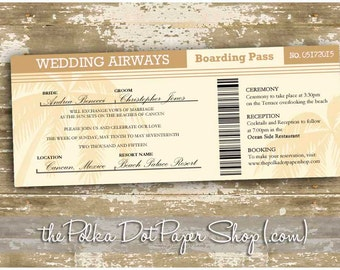 Destination Wedding Invitation / Boarding Pass Wedding Invitation / Plane Ticket Invitation / Cruise Ship Ticket / Passport Invitation