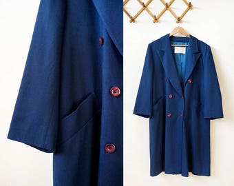 70s Pendleton navy blue double breasted wool trench coat, size medium / large