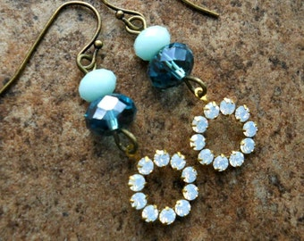 READY TO SHIP Swarovski White Opal and Blue Holiday Earrings in Brass, One-of-a-Kind Swarovski Rivoli Earrings