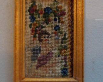 Dollhouse Miniature Framed Micro Petit Point-Figural Cartouche