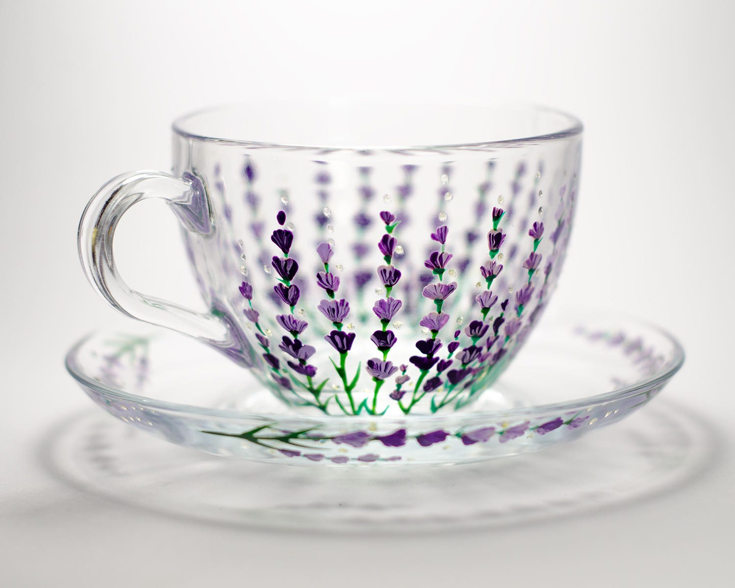 Lavender Tea set cup and saucer Glass teacup for woman