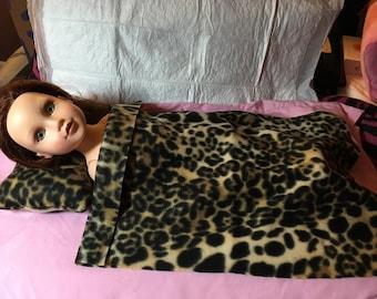 Leopard print Fleece blanket & pillow set for 18 inch Dolls - agfb24