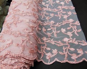 """Ribbon Embroidery BLUSH Scalloped Edge Lace Fabric Perfect for Wedding Dress and Prom Mechanical Stretch Sold By the Yard 50"""" Width"""