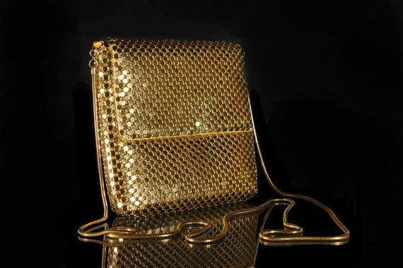 Gold Mesh Evening Bag with Serpentine Chain