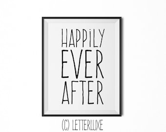 Happily Ever After - Literary Art for New Baby Nursery Decor - Fairytale Bedroom - Library or Playroom Wall Hanging - Typography Art