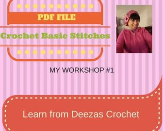 Learn Basic Crochet Stitches by Deezas Crochet, Tutorial Guide, PDF,Digital download