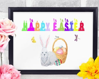 Happy Easter PRINTABLE 8x10, Digital Download, Pdf, Jpg.  Easter Printable, Instant Download, Wall Art, Table Art