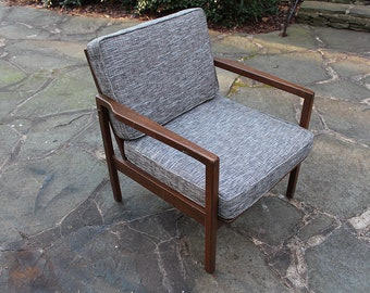 Mid Century Modern Solid Walnut Lounge Chair--New Cushions fabric and foam