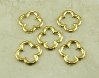 TierraCast Large Quatrefoil Steam Punk Bead Link Connector - 22kt Gold Plated Lead Free Pewter - I ship Internationally 5632
